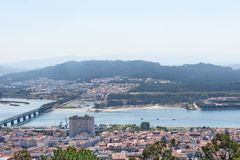 View of the town of Viano do Castelo from the Sanctuary of Santa. Luzia,  Portugal Stock Images