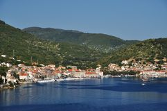 View of the town of Vis. Port and old houses in the town of Vis, Croatia Stock Photo