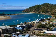 Birds` eye view of the town of Whakatane, New Zealand. A view of the town of Whakatane`s harbor and waterfront, as seen from Puketapu lookout Stock Photography