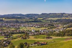 Town of Zug in Switzerland in springtime. View of the town of Zug in Switzerland in springtime. The picture was taken at the beginning of May Royalty Free Stock Photo