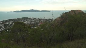 View of Townsville from castle hill lookout in Queensland, Australia stock footage