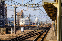 View of the track at station in Toyama, Japan Stock Images