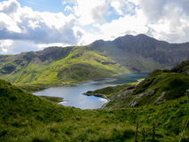 View from track to Snowdon. In Snowdonia Stock Images