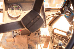 view of tractor dashboard with handles sticks pedals Royalty Free Stock Image
