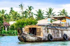 Trading boat by Can Tho on floating market in Vietnam. View on trading boat by Can Tho on floating market in Vietnam Stock Photography