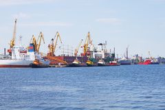 View on trading port Stock Photography