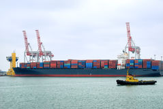 View on trading port with the ships Royalty Free Stock Photography