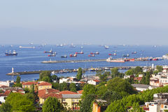 View on trading vessels standing on the raid  in the Sea of Marmara Royalty Free Stock Photos