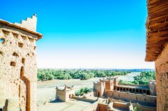 Traditional buildings of Oaisis Ait Ben Haddou in Morrocco Royalty Free Stock Photos