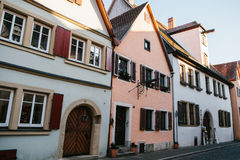 View of traditional German houses in a row in Rothenburg ob der Tauber in Germany. European city. Stock Image