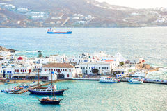 View of traditional greek village with white houses on Mykonos Island, Greece, Stock Images