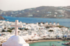 View of traditional greek village with white houses on Mykonos Island, Greece, Stock Image