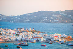 View of traditional greek village with white houses on Mykonos Island, Greece, Royalty Free Stock Image