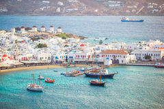 View of traditional greek village with white houses on Mykonos Island, Greece, Royalty Free Stock Photography