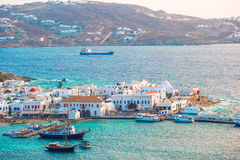 View of traditional greek village with white houses on Mykonos Island, Greece, Stock Photography