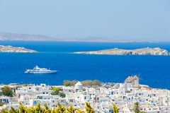 View of traditional greek village with white houses on Mykonos Island, Greece,. Europe Royalty Free Stock Image