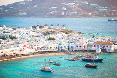View of traditional greek village with white houses on Mykonos Island, Greece, Stock Photos