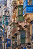 A view of the traditional maltese balconies, Valletta Royalty Free Stock Photo