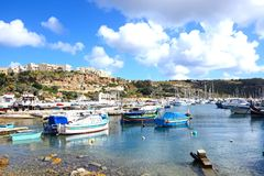 Boats in Mgarr harbour, Gozo. Royalty Free Stock Photos