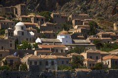 View of traditional style stone houses on Greek island Monemvasia. Travel. Royalty Free Stock Photography