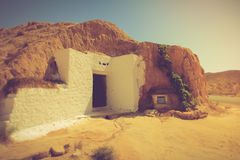 View of the traditional underground houses troglodytes. Tunisia. Royalty Free Stock Photo