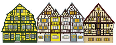 View at traditional village anywhere in Europe. Traditional houses from the middle-age anywhere in Europe, great for promoting tourism industry. Very decorative Royalty Free Stock Photos