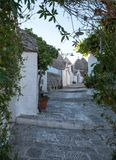 View of traditional white washed dry stone trulli houses on a street in the Rione Monti area of Alberobello in Puglia in Italy. View of traditional white washed royalty free stock images
