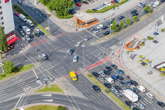 View on traffic crossroad from radio tower Berlin stock image
