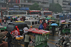 View on the traffic jam on crossroad, China Royalty Free Stock Image