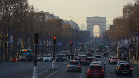 A view of traffic jam on the way to the Arc de Triomphe stock video