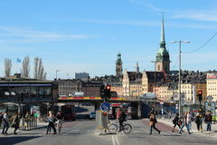 View of traffic point Slussen in Stockholm with the Old Town in the background Royalty Free Stock Photography
