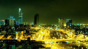 View of the traffic and skyscrapers at night in Ho Chi Minh City Royalty Free Stock Photography