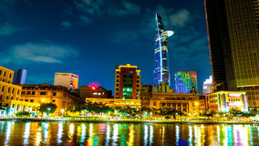 View of the traffic and skyscrapers at night in Ho Chi Minh City Stock Photography