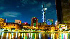 View of the traffic and skyscrapers at night in Ho Chi Minh City Royalty Free Stock Images
