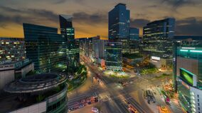 View traffic twilight of downtown at gangnam sqare in seoul city south korea