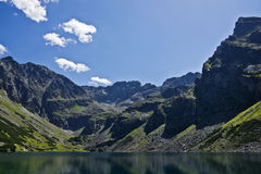 View from the trail on Black Pond and High Tatras Royalty Free Stock Photos