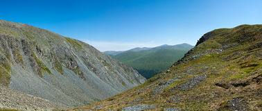 The view from the trail on the pass Karaturek. Trekking in the Altai Mountains Stock Photos
