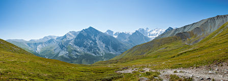 The view from the trail to the pass Karaturek, view of the Belukha. Trekking in the Altai Mountains Stock Image
