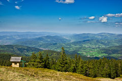 View from trail to the Pilsko Peak from Beskidy mountains Royalty Free Stock Image