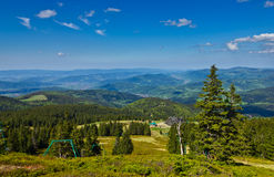 View from trail to the Pilsko Peak from Beskidy mountains Stock Photos