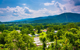 View of a trailer park and mountains near Keyser, West Virginia. Stock Photo