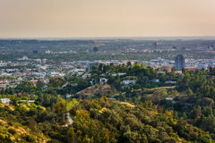 View of trails in Griffith Park and Hollywood  Royalty Free Stock Photos