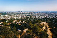 View of trails in Griffith Park and Los Angeles   Royalty Free Stock Photos