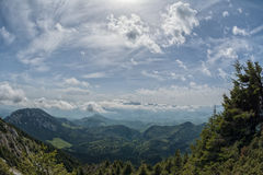 View from the trails in Piatra Craiului mountains, Transylvania, Stock Photo