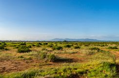 View of the trails and savannah. Of Samburu Park in central Kenya stock photo