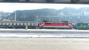 A train departs Bischofshofen Station in Austria. The view from a train as it departs Bischofshofen Station.  Bischofshofen is a small town in the state of stock video