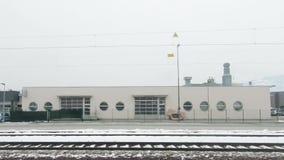 A Train Departs Hallein Station in Austria. The view from a train as it departs Hallein Station in Austria hd, 30fps stock footage