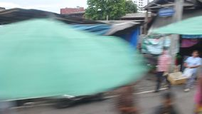 View from a train in Bangkok stock footage