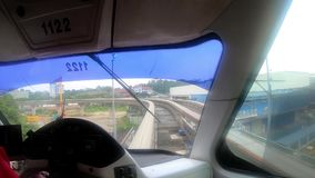 View from the train cabin. The driver manages the train, the first person view stock footage