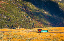 View of a train on the Mount Washington Cog Railway from the sum Stock Photography